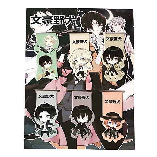 Peoria 6Pcs Anime Magnetic Bookmarks, Anime Page Clips for Students and Teachers(Bungo Stray Dogs)