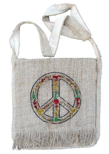 Unisex Bohemian 100% Hemp Hippie Peace Sign Crossbody Messenger Bag with Rasta Colors