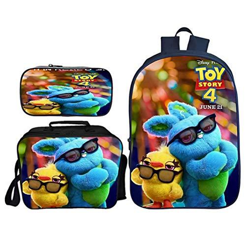 BFZHYMX Borsa da Scuola per Bambini Toy Story 4 Set di Librerie Scolastiche Zaini per Studenti Set di 3 Pezzi: Zaini Scolastici con Pranzo al Sacco Termico E Astuccio Scuola Zaino Borsa Unisex,f