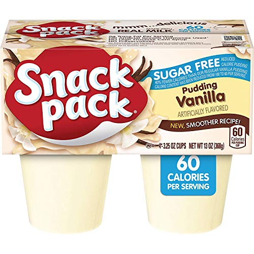 Snack Pack SugarFree Vanilla Pudding Cups Keto Friendly 4 Count 12 Pack
