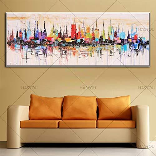 ZHUAIBA Hohe Qualität Mode Modern Living dekorativeölgemälde Handgemaltegroße Lange Bild Mirage stadtlandschaft ABSTRAKTE WANDKUNST 50X150CM