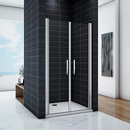 Porta Per Nicchia box doccia 85x195 cm 2 Ante Apertura Saloon In Cristallo Temperato Trasparente 6mm Anticalcare