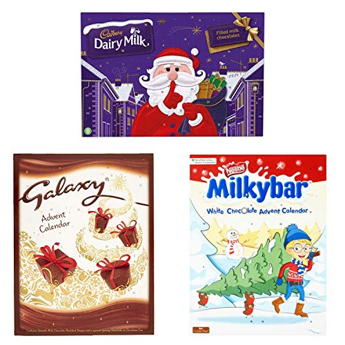 Advent Calendar KIT 3 Products, Chocolate Dairy, Galaxy and Milky, Themed, Fun and Perfect for Those Looking for a Perfect Christmas