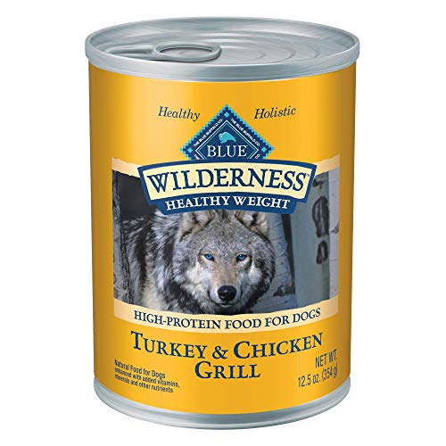 Blue Buffalo Wilderness High Protein Grain Free, Natural Adult Healthy Weight Dog Wet Food, Turkey & Chicken Grill 12.5-oz can (pack of 12)