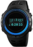 Digital Mens Sports Watch Electronic Military Multifunctional Pedometer Calories Compass OLED Display (Blue)