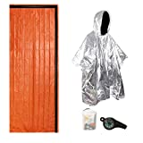 AZXJC Thermal Emergency Sleeping Bag Blanket Mylar Survival Bivy Sack Shelter Lightweight for Outdoor, Hiking, Camping with Portable Drawstring Bag & Whistle & Survival Poncho(Orange)