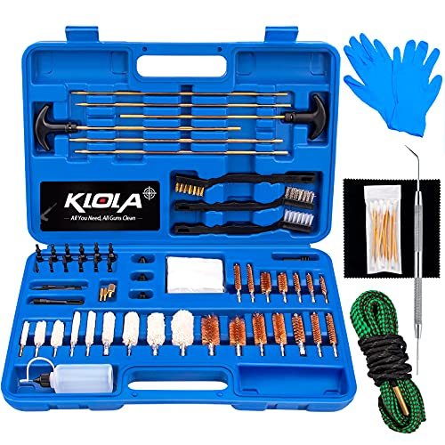 klola Universal Gun Cleaning Kit with Bore Snake 65 in 1 Cleaning Kit for All Caliber Guns Hunting Accessories Great Gifts for Men Women Husband Boyfriend