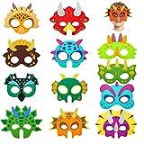 Máscara de Dinosaurio Caretas Animales, 12 piezas de Decoración de Cumpleaños de Dinosaurio, Máscara de rol Para Fiesta de Disfraces,Máscara de fieltro de Halloween, Adecuada Para Niños y Niñas