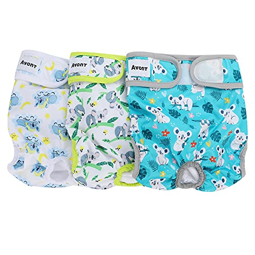 Avont 3 Packs - Pañales Lavables para Perras, Reutizables y Duraderos para Perros Hembra, Female Dog Diapers Altamente Absorbentes -XL, 24'-33' Cintura,Animales
