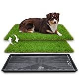 LOOBANI 35in x 23in Extra Large Grass Porch Potty Tray, 2-Packs Replacement Artificial Fake Grass Puppy Training Pads- Portable Dog Patio Potty for Balcony/Apartment Use (Pet Tray, 35' x 23')