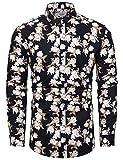 fohemr Camisa de Manga Larga para Hombre Estampado Floral Casual con Botones Camisa Retro Flores Estilo 100% algodón Negro X-Large
