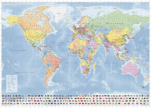 Weltkarte Länder der Erde, Großformat mit beidseitiger Laminierung, beschreibbar/abwischbar, 1.40m x 1.0m, politischer Stand 2020, Neuauflage