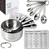 Stainless Steel Measuring Cups and Spoons - Stackable 12 pcs Set with ORIGINAL Magnetic Measurement Conversion Chart