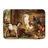 ZOMOY Badematte,Baby Ziegen in Einer Scheune und Hühner Nutztiere,rutschfest Waschbar Badezimmer Teppich Weiche Hochflor Badvorleger aus