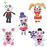 5 Piezas Five Nights at Freddy'S Peluches FNAF Figura Funtime Freddy Funtime Foxy Ennard Circus Baby Ballora Juguetes Animales y Figuras de Peluche Colecciones Muñeca Regalo-5PCS||18CM