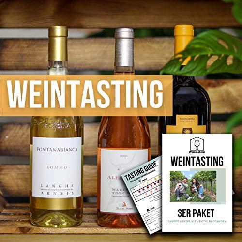Wein Tasting Set 3er Paket | Home Tasting mit Videobegleitung | Online Weinverkostung | Wein-Probe für Zuhause als Geschenk | 3 Weine