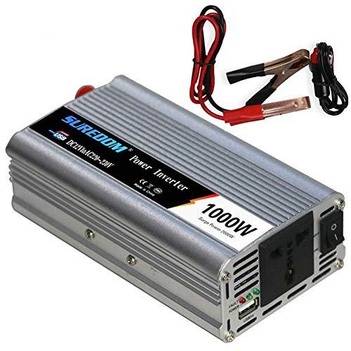 inversor 1000W Inversor de corriente DC 12 / 24V a salida de CA 110 / 220V Salida del convertidor de voltaje Pinza de cocodrilo para batería en el automóvil 1 Tomacorrientes de CA Potencia pico USB 2