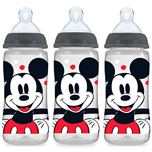 NUK Smooth Flow Disney Bottle, Mickey Mouse, 10 Oz, 3 Pack, Color may vary (Packaging may vary)