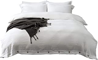 M&Meagle Duvet Cover White,Solid Color Button Design,100% Microfiber Treated by Washed Cotton Process,Feels Like a Very Soft Cotton-Queen Size(3Pcs,1 Duvet Cover 2 Pillowcases)