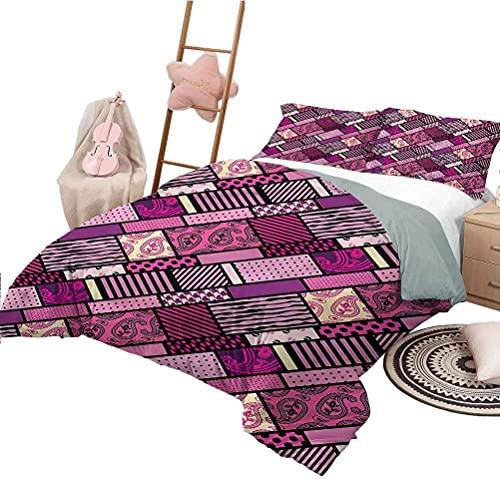 Bettgarnitur in voller Größe Magenta Leichte Schlafzimmer Tagesdecke für alle Saison Patchwork Style Polka Dots