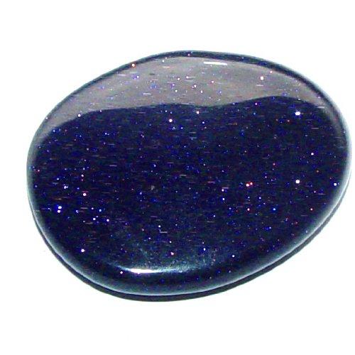 1 x Blaufluss blauer Goldfluss schöner flacher lila blau Handschmeichler mit Glimmer.(2966)
