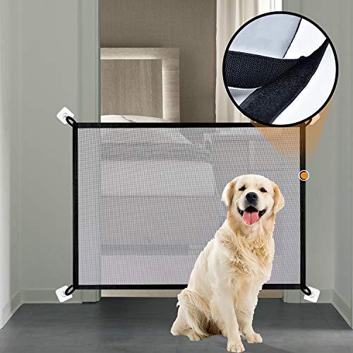 Magic Gate voor Honden Bijgewerkt Chew-Proof Mesh Net Hond Poort met Sticky Loop & Haak Bevestiging Houd Tightly Safety Gate voor Baby en Huisdieren - 100 x 75cm