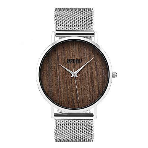 Vintage herenhorloge dameshorloge met hout hout wijzerplaat en meshband lederen armband zilver 38mm