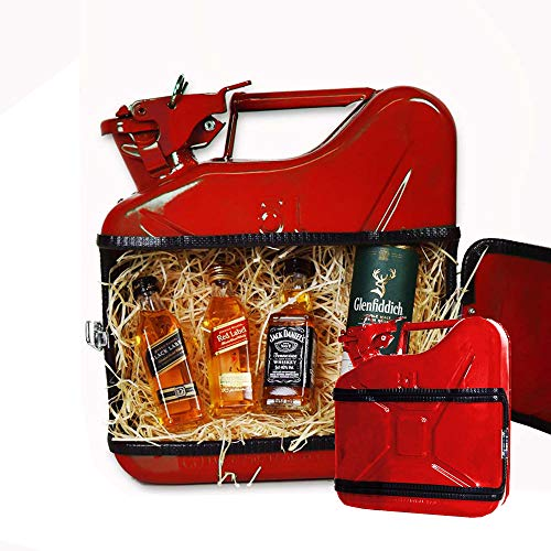 mikamax – Jerrycan Whiskeybar 5L – Kanister Minibar – Mobile Bar – 5L – Rot – Metall – 24.5 x 9.5 x 28 cm – Männergeschenke – Whisky Geschenkset