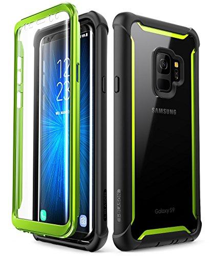 i-Blason Samsung Galaxy S9 Hülle, [Ares] Handyhülle Ganzkörper Robust Schutzhülle Bumper Case 360 Grad Clear Cover mit integriertem Displayschutz für Samsung Galaxy S9 2018 (Schwarz/Grün)