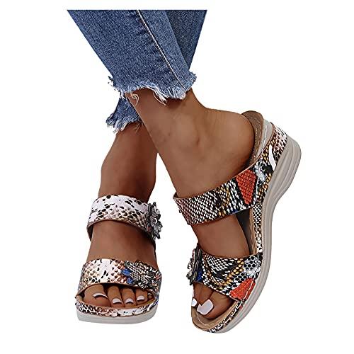 FeelFree+ Sandalia de Cuna para Mujer,Sandalias Mujer Plataforma,Zapatos Verano 2021 Mujer Cabeza Redonda Leopardo Estampado Serpiente Flores Comodos Tacón Alto Cuña,Zapatillas Línea Sandalias