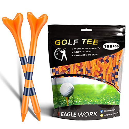 EAGLE WORK Plastic Golf Tees, Pack of 100(2-3/4'') 4 Prongs Golf Tees, More Durable and Stable, Reduces Friction & Side Spin Plastic Tees