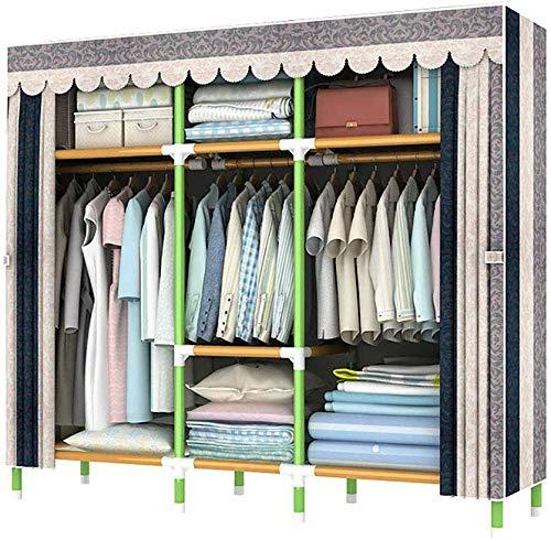 MU Asamblea portátil de tela armario, estante armario ropero de almacenamiento con color acero retráctil Estante con armario ropero y dormitorio camping Boom,Líneas