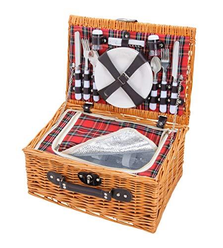 4 Personen Picknickkoffer Aus Weide Mit Kühlfach (25-teilig) - Rot Grau karriert - Picknickkorb Geflochten Mit Deckel, Geschirr Set & Zubehör