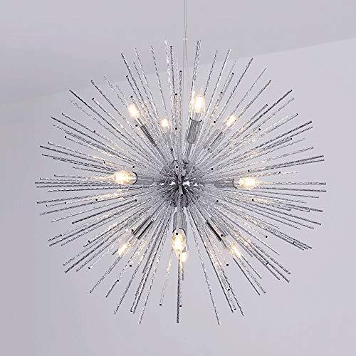 ZHUO Candelabros redondos de LED, 8/12 luces postmodernas de oro/plata fuegos artificiales de aluminio cabeza de Araña de luces lámparas de techo cafetería creativa tienda de ropa luz colgante