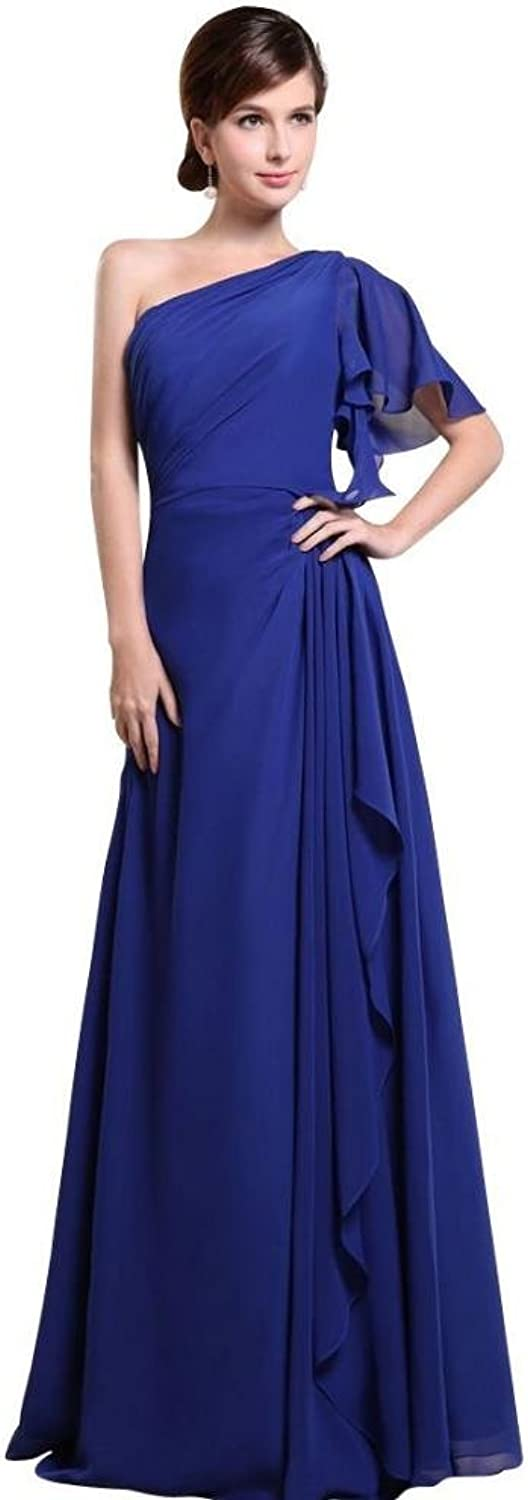Dearta Women's ALine OneShoulder Short Sleeves FloorLength Bridesmaid Dress