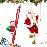 2Pcs Santa Claus Musical Climbing Rope, Electric Christmas Climbing Rope Ladder Decoration, Creative Climbing Santa Claus Plush Doll Toys with Christmas Music for Holiday Party Christmas Tree Decor