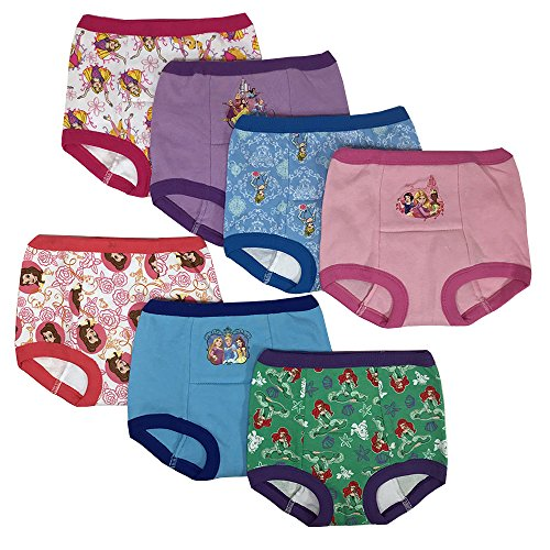 Disney Girls' Toddler 7pk Potty Training Pant, Princess Assorted, 3T