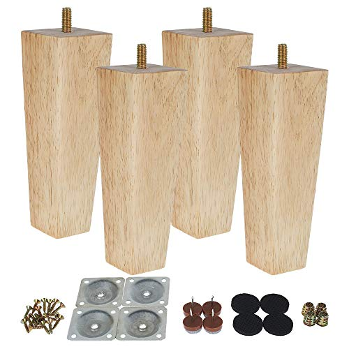 Wooden Furniture Legs, Set of 4 Heavy Duty Solid Wooden Replacement Armchair Feet Mid-Century Modern Cabinet Feets with Threaded Mounting Plate & Screws for Sofa Cabinet Bed Table(6 inch/15cm)