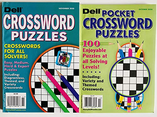 2 Issues of Dell Crossword Puzzles Includes Pocket 2020 issues, Penny Press Themed Variety