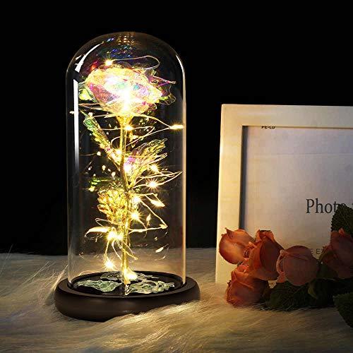 MMTX La Belle et la Bête Rose Cadeaux de la Saint-Valentin, Galaxie Rose LED lumière décor avec pour la décoration de la Maison Mariage Saint Valentin fête des mères Anniversaire Cadeaux de noël