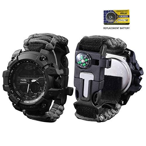 vikano Survival Bracelet Watch, Men & Women Emergency Survival Watch with Paracord/Whistle/Fire Starter/Scraper/Compass, 6 in 1 Multifunctional Outdoor Gear (Black)