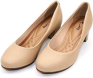 MISS AJ Beige Stylish Block Heels Comfort Shoes for Women