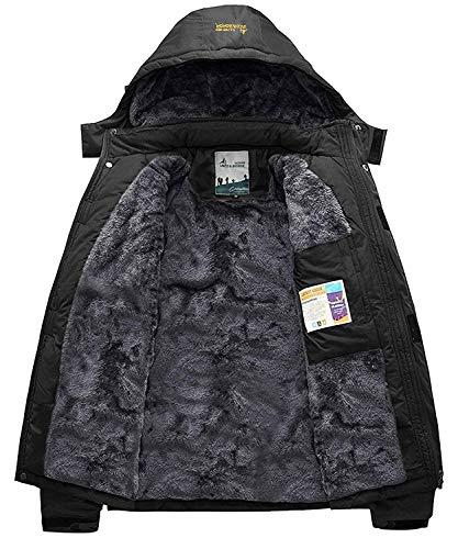 Memoryee Chaqueta impermeable para hombres Chaqueta polar de invierno Cálida chaqueta de esquí A prueba de viento Bolsillos múltiples/Black/L