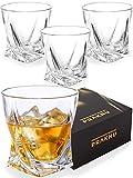 Pack de 4 Vasos de Whisky de Cristal de 270 ml - Diseño Twisted - Vaso de Whiskey - con Caja de Regalo para Regalar