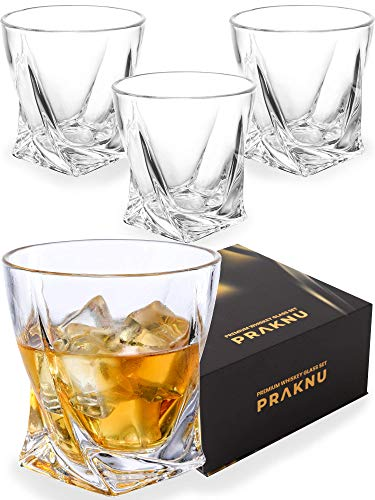 Pack de 4 Vasos de Whisky de Cristal de 270 ml -...