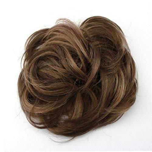 1pc Moño Extensiones, Pelo Sucio Bollo Bollos Rizado Natural del Pelo Postizo para La Mujer (Brown)