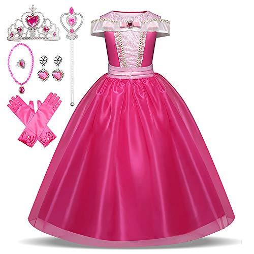 Princess Aurora Dress for Kids, Princess Dress Costume, Gorgeous 7-piece Set, Pink (Princess Dress, Heart Tiara, Magic Stick, Gloves, Necklace, Ring, Earrings) 110