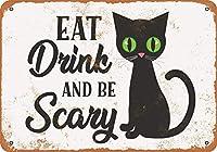 飲み物を食べて怖い黒猫、ブリキのかんばん、ヴィンテージ鉄絵のメタルプレートノベルティ装飾クラブカフェバー