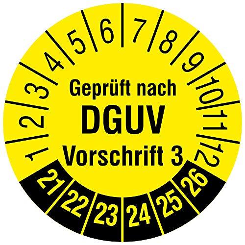Labelident Mehrjahresprüfplakette 2021-2026 - Geprüft nach DGUV Vorschrift 3 - Ø 15 mm, 240 fälschungssichere Prüfplaketten in der Packung, Dokumentenfolie, gelb, selbstklebend
