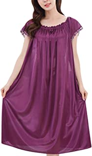 Women Loose Sexy Solid Nightdress ❀ Ladies O-neck Short Sleeve Nightgown Dress Lingerie Sleepwear Sexy Pajamas Nightwear